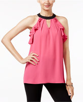 NY Collection Contrast Ruffled Halter Blouse