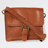 Fat Face Small Leather Cross Body Bag, Tan