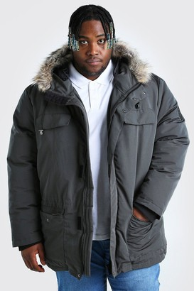 boohoo Mens Grey Plus Size Faux Fur Hooded Arctic Parka, Grey