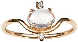 WWAKE 14kt Yellow Gold Nestled Moonstone And Diamond Ring