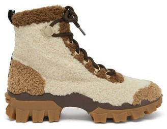 Moncler Helis Faux-shearling Hiking Boots - Beige Multi