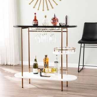 Southern Enterprises Derjo Wine/ Bar Table w/ Glassware Storage, Black
