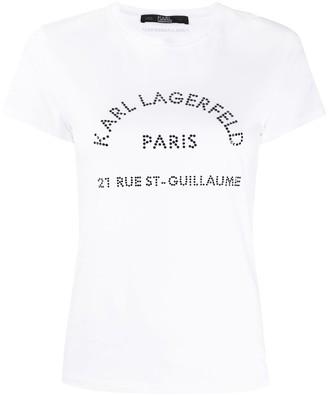 Karl Lagerfeld Paris rhinestone logo T-shirt