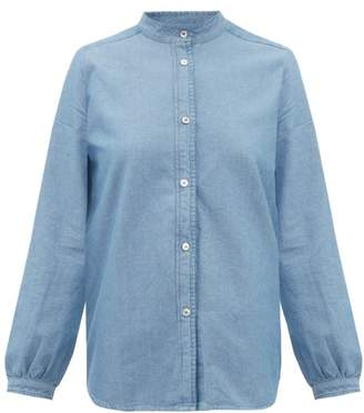 A.P.C. Antoinette Cotton-chambray Shirt - Womens - Light Blue