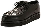 Valentino V Creep Leather Lace-Up Platform Shoe, Black