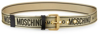 Moschino Embroidered Logo Strap Metallic Belt