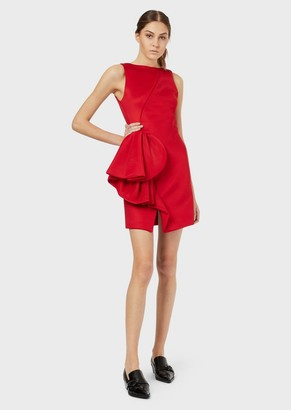 Emporio Armani Tube Dress With Oversized Applied Ruching