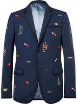 Gucci - Navy Slim-Fit Embroidered Wool and Mohair-Blend Twill Suit Jacket