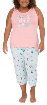 Munki Munki Nite Nite Plus Size Pineapple Tank & Capri Pajama Set, Online Only