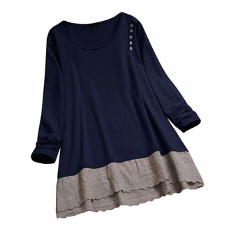 Amandaz Women Long Sleeve O Neck Tops Slimming Lace Design Blouses Cross Front Solid Tunic Tops Cut Out T Shirts Women's Plus Size Cotton and Linen Stitching Long-Sleeved Top T-Shirt Dark Blue