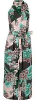 River Island Womens Green tropical high neck tie waist midi dress