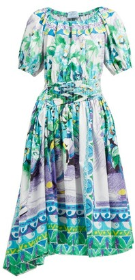 Prada Flowerpot Print Cotton Midi Dress - Womens - Blue Multi