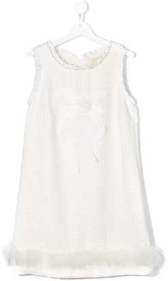 MonnaLisa TEEN feather trim shift dress