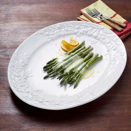 Sur La Table White Olive-Motif Italian Ceramic Platter