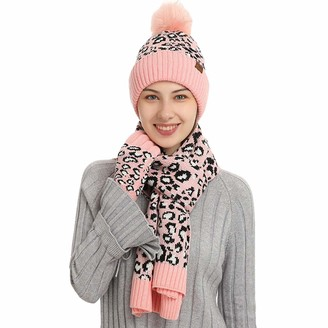JEELINBORE Womens Hat Scarf and Glove Set Leopard Thick Knitted Beanie with Pom