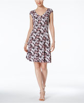 Connected Petite Floral-Print A-Line Dress
