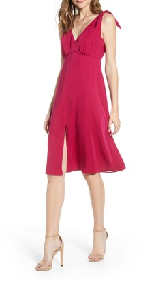 Cupcakes And Cashmere Tie Shoulder Crepe Dress