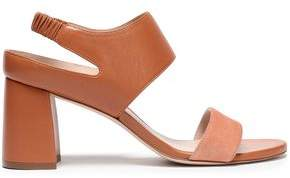 Stuart Weitzman Leather And Suede Slingback Sandals