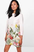 boohoo NEW Womens Nora Floral BorderPrint Shift Dress in Polyester
