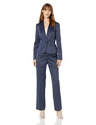 Le Suit Women's 1 Button Notch Collar Glossy Melange Pant Suit