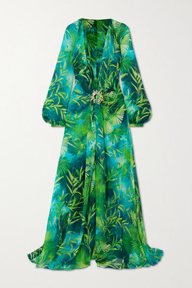 Versace Crystal-embellished Printed Silk-chiffon Gown - Green