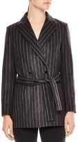Sandro Luciano Belted Pinstripe Jacket
