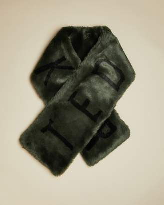 Ted Baker Branded Faux Fur Scarf