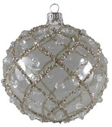 Christmas Shop 10cm Glitter Lattice Bauble Tree Ornament