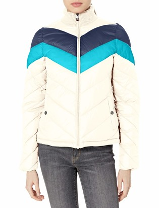 Andrew Marc Women's Colorblock Chevron Jacket with Sweater Collar