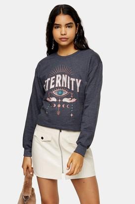 Topshop Womens Charcoal Grey Eternity Sweatshirt - Charcoal