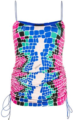 Just Cavalli Mosaic Ruched Sleeveless Top
