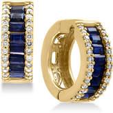 Effy Royalé Bleu Sapphire (1-1/2 ct. t.w.) and Diamond (3/8 ct. t.w.) Hoop Earrings in 14k Gold