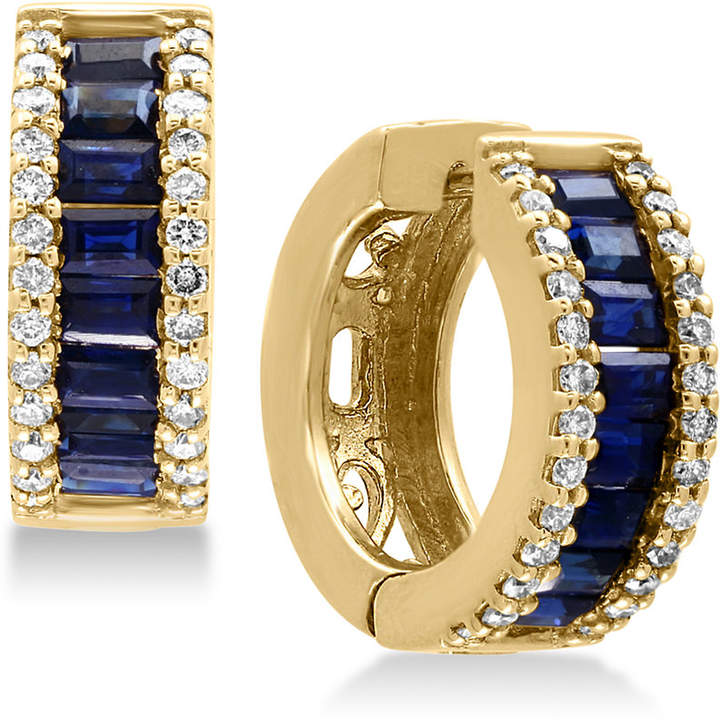 Effy Royale Bleu Sapphire (1-1/2 ct. t.w.) and Diamond (3/8 ct. t.w.) Hoop Earrings in 14k Gold, Created for Macy's
