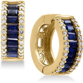 Effy Royale Bleu Sapphire (1-1/2 ct. t.w.) and Diamond (3/8 ct. t.w.) Hoop Earrings in 14k Gold