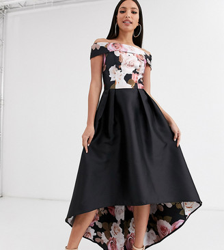 Chi Chi London Tall printed high low bardot dress in black floral print