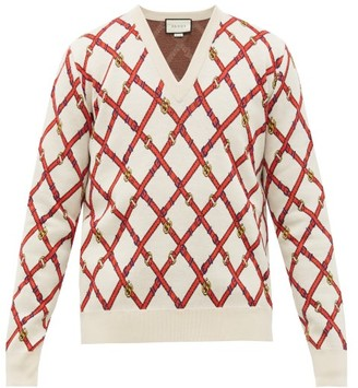 Gucci V-neck Harness-instarsia Wool-blend Sweater - Mens - Beige Multi