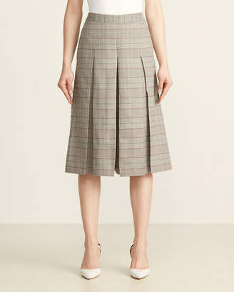 Pleated Plaid Cropped Culottes