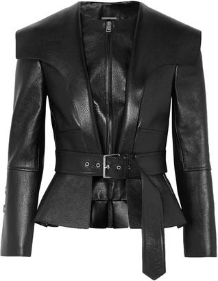 Alexander McQueen Textured-leather Peplum Jacket