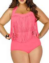 Papaya Wear Women's Retro High Waist Braided Fringe Top Bikini Swimwear Plus Size 2XL,LG