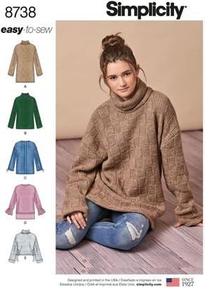 Simplicity Misses' Sweater Sewing Pattern, 8738, XXS-XXL