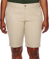 Arizona 11 Woven Bermuda Shorts-Juniors Plus