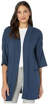 Three Dots Cotton Modal Kimono Cardigan (Night Iris) Women's Clothing