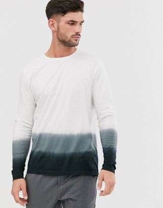 Jack and Jones Originals long sleeve top with ombre stripe in white