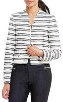 Calvin Klein Petites Stripe Boucle Suiting Notched V-Neck Open Front Jacket