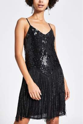 River Island Womens Black Trinity Sequin Fringe Cami Dress - Black