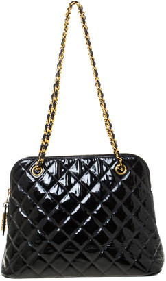 Chanel Black Quilted Patent Leather Vintage Dome Shoulder Bag