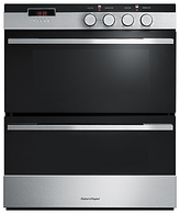 Fisher & Paykel OB60HDEX3 Double Built-Under Electric Oven, Black Glass/Stainless Steel