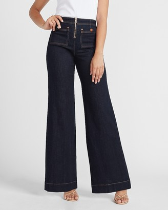 Express High Waisted Zip Front Patch Pocket Wide Leg Jeans