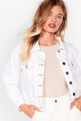 Nasty Gal Womens Seam There Done That Cropped Denim Jacket - Cream - 6