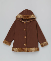 Paperdoll Brown Leopard Fleece Hooded Coat - Toddler & Girls